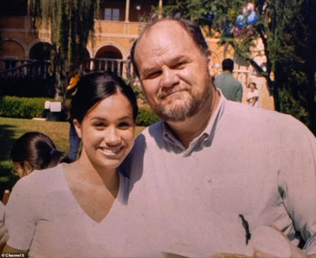 It comes despite Meghan's public fall-out with her father Thomas (pictured together), whom Harry has never met, after he sold pictures of himself trying on suits to paparazzi ahead of the royal wedding in 2018