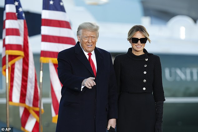 Trump blasted the media for their criticism of his wife Melania, who has kept a low profile since leaving the White House. The pair are pictured together in January