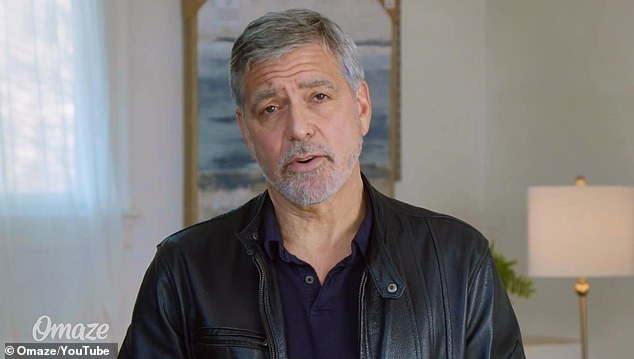 Pandemic:The video begins with Clooney - clad in a stylish black leather jacket over a navy blue shirt - revealing he wants to celebrate with a random fan, once the pandemic is over