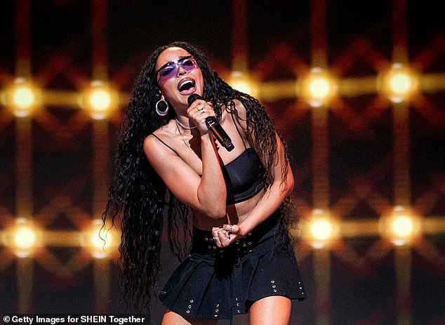 Performance with a cause:Over the weekend she joined a star studded lineup of artists like Nick Jonas, Maren Morris and Steve Aoki for the second annual 'Shein Together Fest' with $100K of proceeds going to charity partners including the NAACP Legal Defense Fund, Together We Rise and Ecologi; pictured May 2