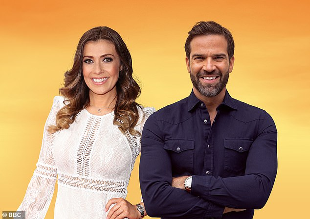 Co-host: Rav Wilding stepped in for Gethin, and Kym Marsh (L) told viewers: 'No Gethin today - he lives in an area affected by the surge testing but keeping his seat very warm is our Rav'
