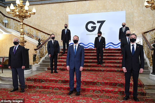 G7 ministers pose for a 'family photo' yesterday. India is not part of the G7 but they are attending the gathering