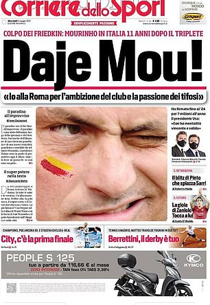 Corriere ran with the same headline as Tuttosport