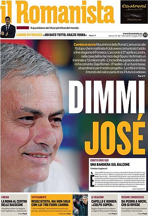 'Tell me Jose' is the front page of il Romanista