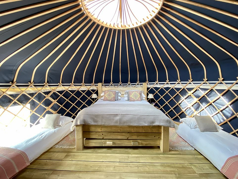 One of the glamping yurts in the grounds of the majestic 17th-century Raynham Hall near Fakenham in Norfolk