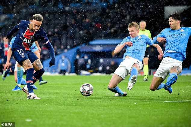 Oleksandr Zinchenko (second right) dives to block a Neymar shot during the semi-final clash