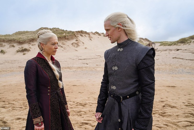 Origin story: Game Of Thrones fans got their first look at the upcoming prequel series House Of The Dragon, which tells the story of the House Of Targaryen. Actors Emma D'Arcy and Matt Smith are seen as royals Princess Rhaenyra Targaryen and Prince Daemon Targaryen above