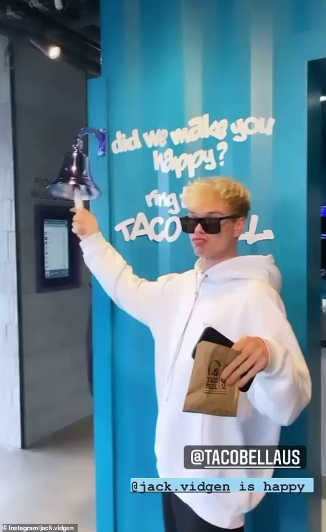 'I can't deal': On Wednesday, Jack Vidgen took to Instagram to candidly tell his thousands of followers about the 'dangers' of living so close Mexican-inspired chain Taco Bell, who have just launched a new store in Sydney's Green Square