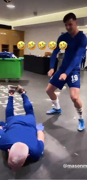 He was filmed by defender Ben Chilwell doing the worm next to Mason Mount