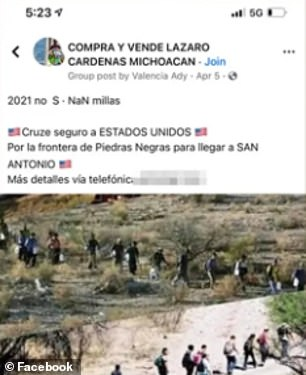 Posts on Facebook advertise services to cross the border into San Antonio