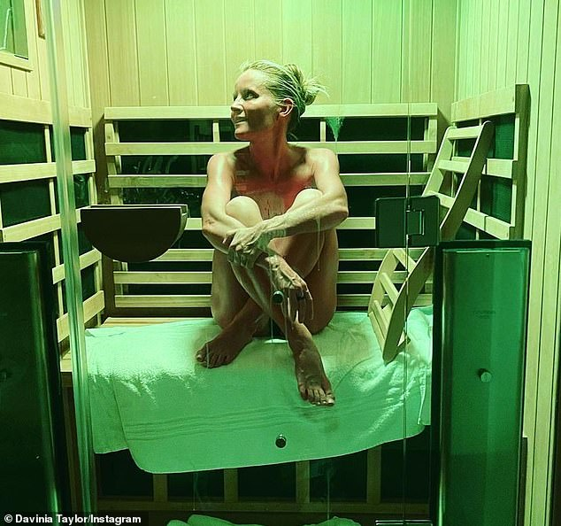 Stunning:It comes after Davinia looked nothing short of sensational earlier this month as she once again showcased her physique in a series of infrared sauna snaps shared to Instagram