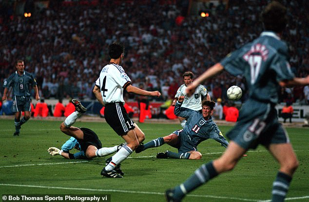 With the chance to score the winning goal, Darren Anderton (11) hit the post for England