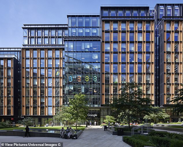 US tech giant Google (its London HQ pictured) revealed plans to allow 20 per cent of its 140,000 employees to permanently work from home starting September 1