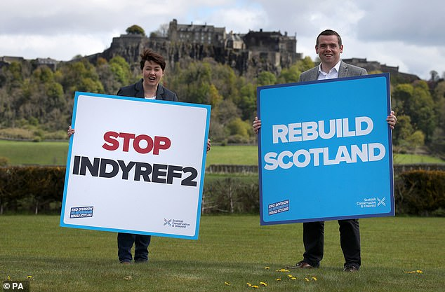 Scots Tory leader Douglas Ross and former leader Ruth Davidson (pictured yesterday) have been pleading for people to lend them votes to stop the independence drive