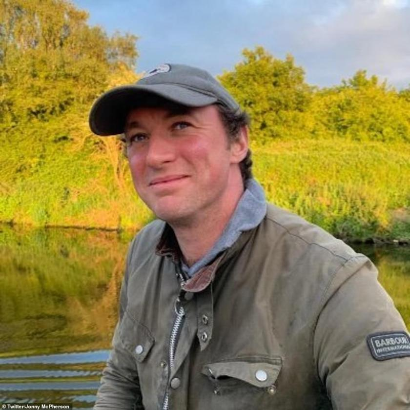 Life on the water:Emmerdale star Jonny McPherson has given soap fans a glimpse of his cosy houseboat home where he lives with his pet dog Molly
