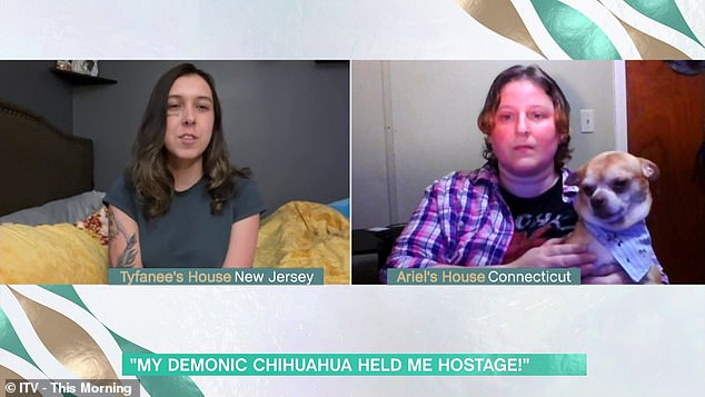 Appearing on This Morning today, Ariel (right) revealed that Prancer is 'absolutely demonic' and the advert posted by Tyfanee Fortuna, from New Jersey (left) was 'spot on'
