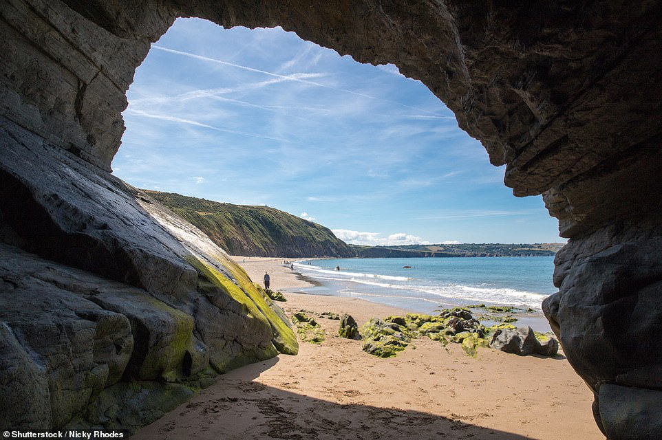 Penbryn beach, which is around 14.4km (nine miles) north of Cardigan in Wales,is owned by the National Trust and is almost 1.6km (a mile) in length. On the far right-hand side is a cave that can be explored at low tide