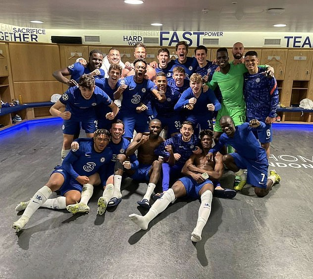 Chelsea players were delighted in the dressing room after beating Real 2-0 on Wednesday