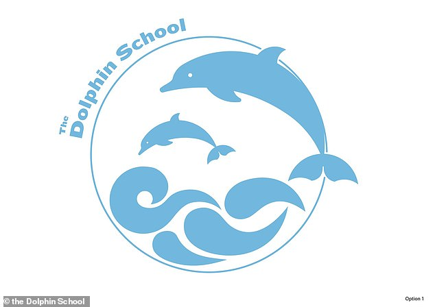 The Dolphin School in Bristol changed the design from two of the aquatic mammal either side of an anchor to two jumping over a wave