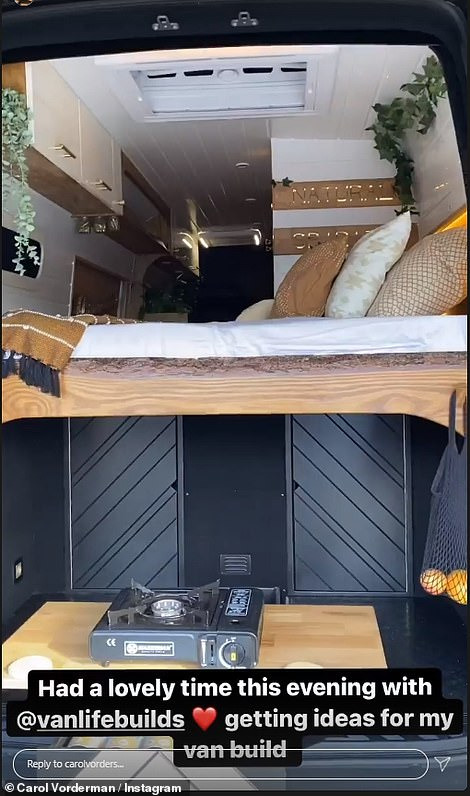 Lavish!Carol Vorderman gave fans a glimpse of her lavish campervan stay in Bristol on Wednesday night as she got ideas for her own design so she can have 'lots of adventures'