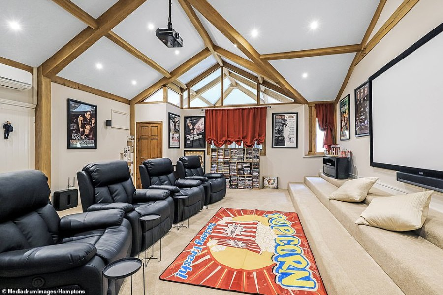 The property being sold comprises six bedrooms, five bathrooms, a drawing room, reception hall, games room and a private annexe with its own kitchen-diner. Pictured:There is also a private cinema room, which adds to the uniqueness of the property