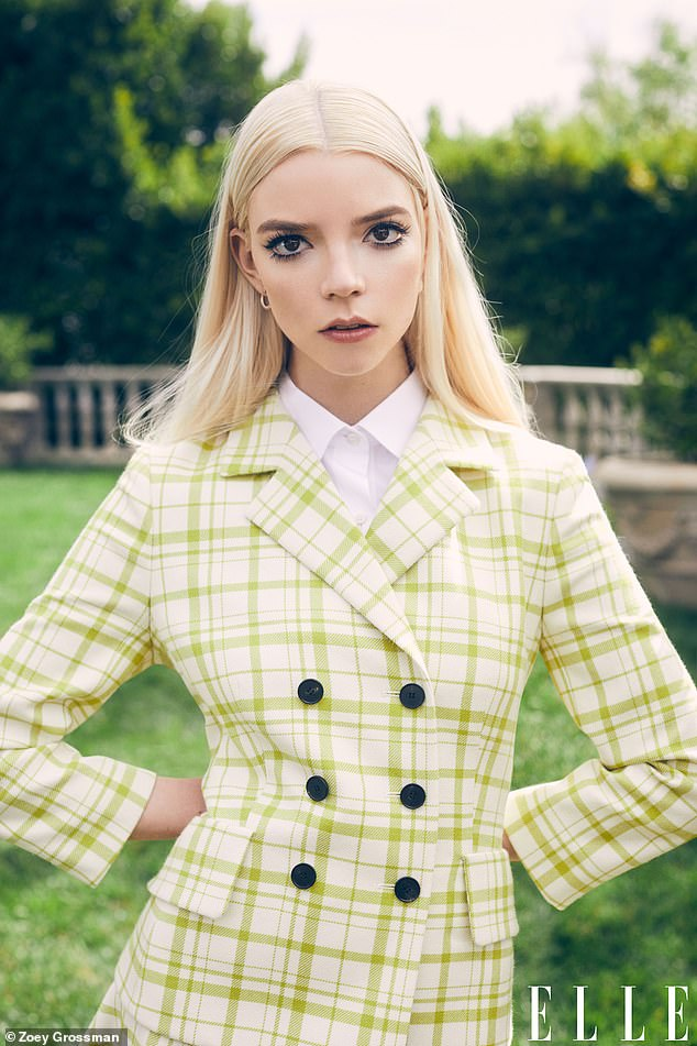 Striking:The Emma star, 25, wowed in a collection of eye-catching ensembles which included a green chequered suit jacket and pink ruffled tulle mini dress