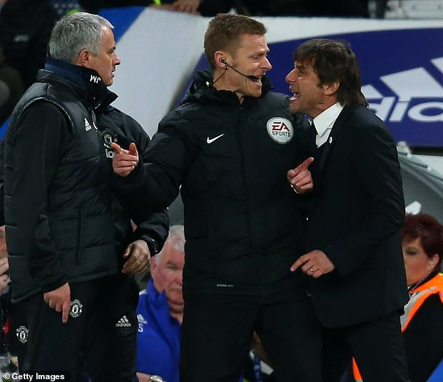 Conte (right) and Mourinho (left) clashed a number of times when they managed English teams
