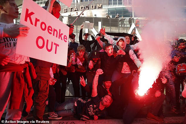 Fans continued to hold up banners protesting against current Gunners owner Stan Kroenke