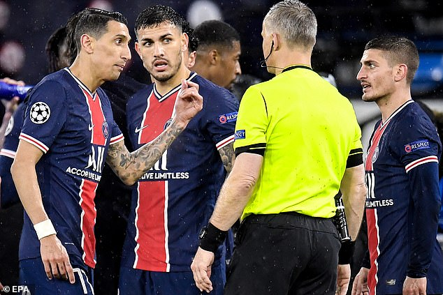 Referee Bjorn Kuipers was said to have told two PSG players to 'f*** off' during loss to Man City