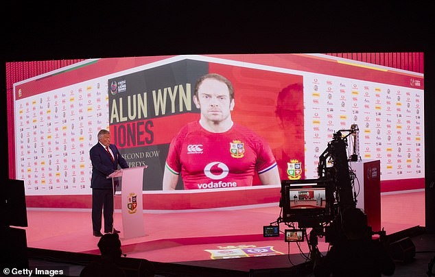 Lions captainAlun Wyn Jones was hilariously virtually beamedinto Thursday's squad unveiling