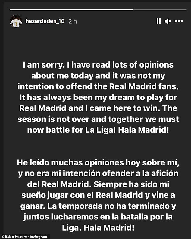 He took to Instagram to say it was never his 'intention to offend the Real Madrid fans'