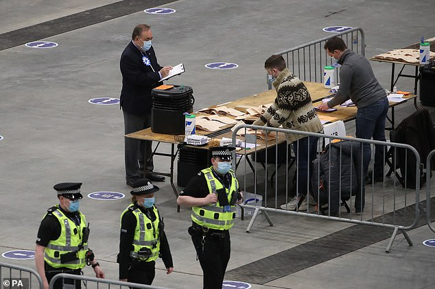 ALBA party leader Alex Salmond watches votes being counted for the Scottish Parliamentary Elections being counted in Aberdeen this morning