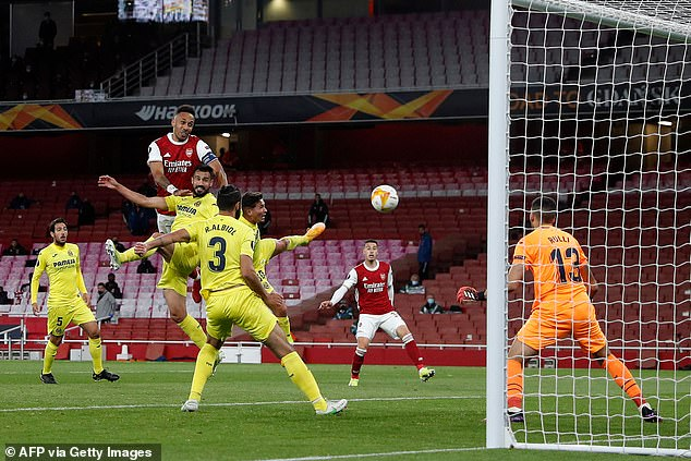 He could prevent Arsenal from crashing out of Europe as he hit the post twice against Villarreal