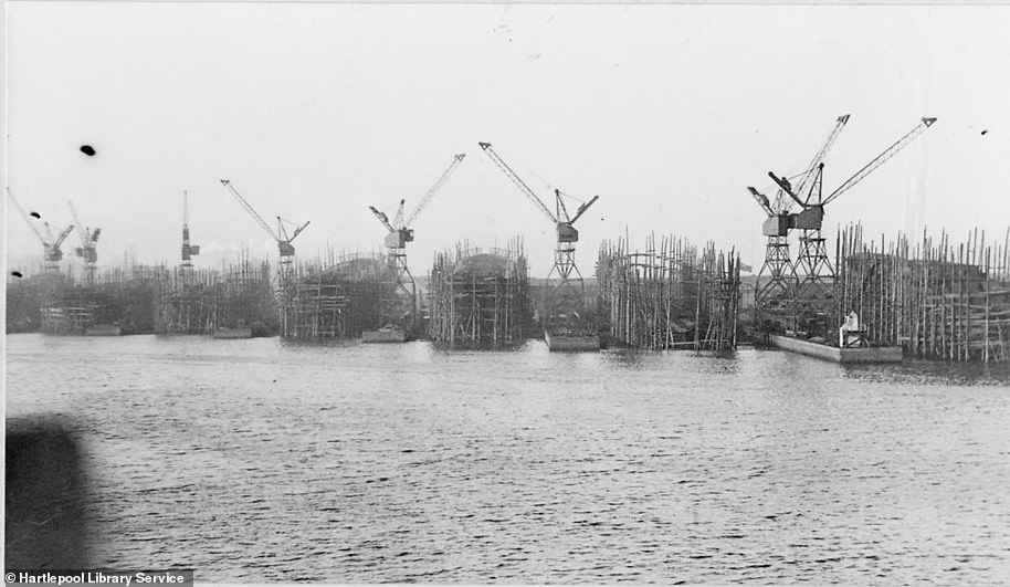 View of Central Shipyard from Central Dock in Hartlepool. It shows eight ships in stocks. The image was taken before Hartlepool's ship building industry declined