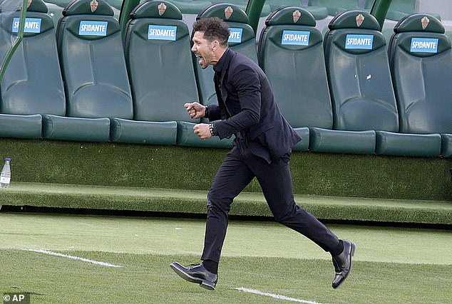Simeone celebrated passionately as Atletico beat Elche to remain in control of the title race