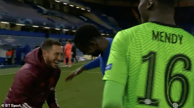 Former Chelsea man Hazard was caught on camera in high spirits despite the chastening loss
