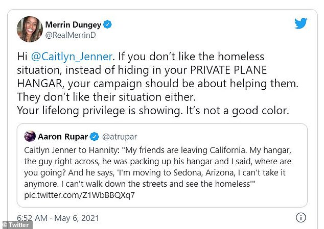 No restraint: King of Queens actress Merrin Dungey also attacked Caitlyn for giving an interview from her own airplane hangar