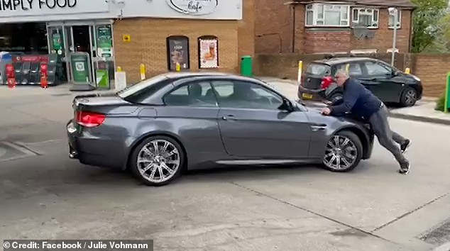 The middle-aged driver is believed to have left his keys in the ignition when he entered the store to pay for gasoline.
