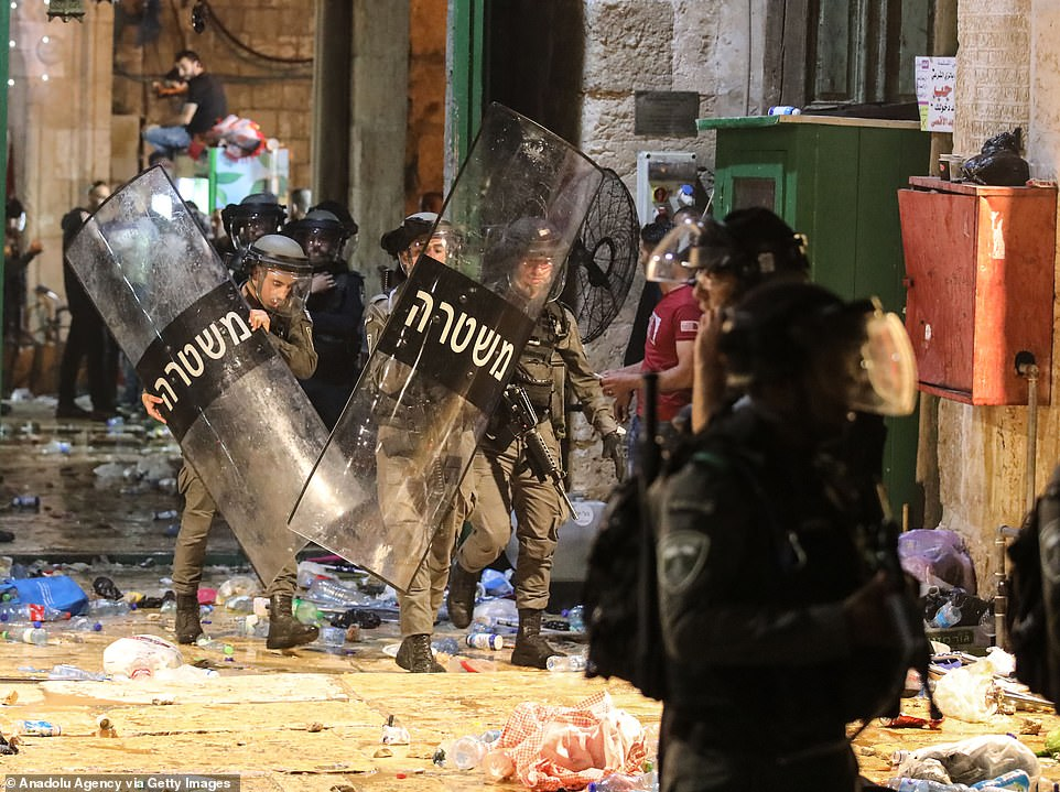 Israeli police intervene in Muslim worshippers with stun grenades and plastic bullets in Haram al-Sharif area of Al-Aqsa Mosque on Friday