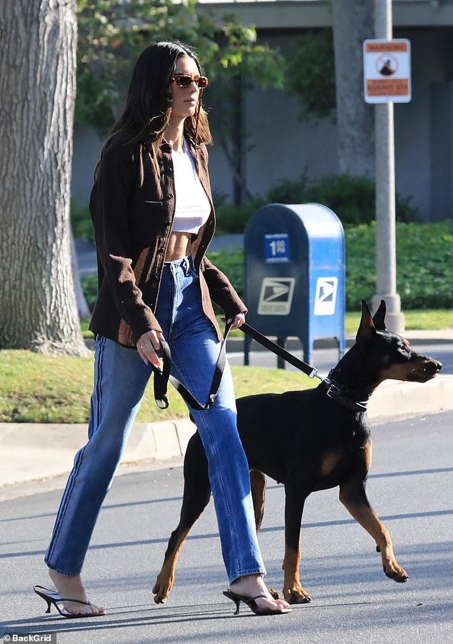 Fresh air: She accessorized her casual-cool ensemble with black slingback heels, retro shades and her dark brown hair styled in loose with a single braid