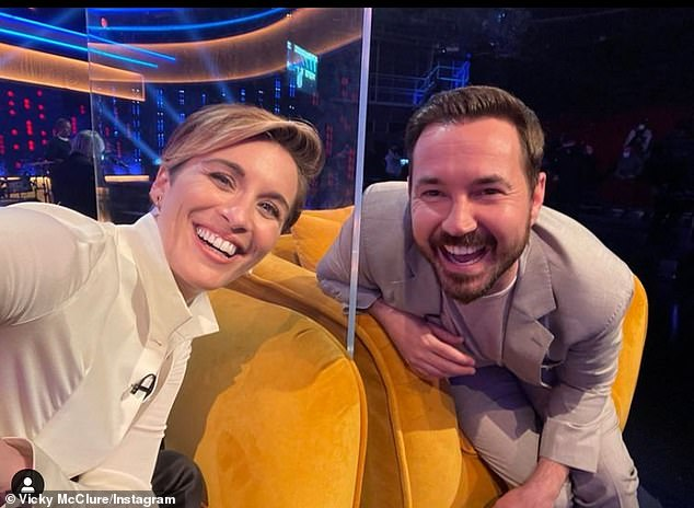 Best pals: Sharing a behind the scenes snap of them on the Jonathan Ross show recently, Vicky, who plays Kate Fleming, wrote: 'HAPPY BIRTHDAY @mrmartincompston'