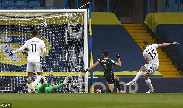 Stuart Dallas rifled home Leeds' first of the afternoon as the home team moved into the top ten
