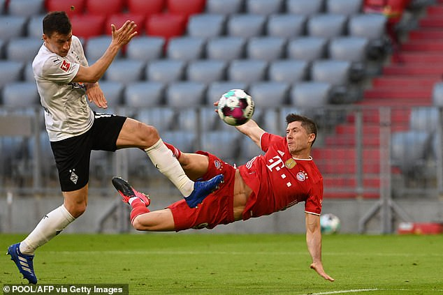 The Bayern striker made it 3-0 with asensational flying volley in the 34th minute