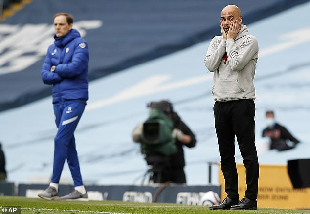 Tuchel (left) admits his side were lucky against Pep Guardiola's champions-elect this weekend