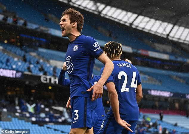 Marcos Alonso (left) scored a last-gasp winner to seal a 2-1 Premier League win on Saturday