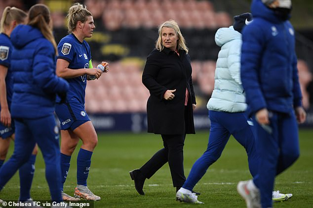 Chelsea manager Emma Hayes (middle) has described coaching as a hobby and not a chore