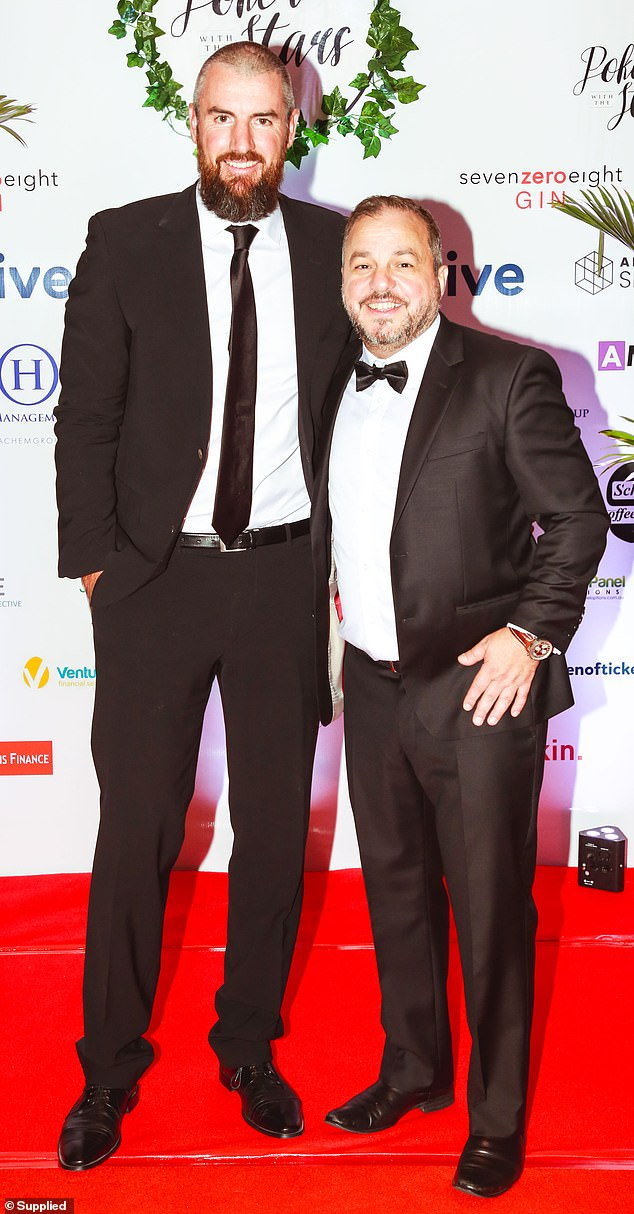 Night out: The Block's Darren Jolly (L) also enjoyed a night out at the celebrity gala. The star wore a black suit which he paired with a black tie and belt. (R) Tony Hachem