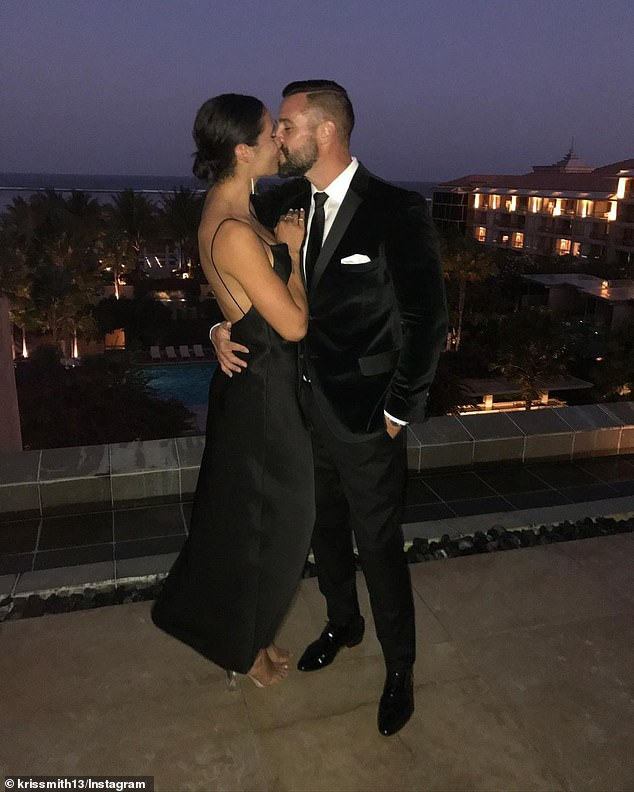 Proud: Model Kris Smith shared this loved-up photo of partner Sarah Boulazeris alongside a gushing tribute to the personal trainer - as well as his own mother