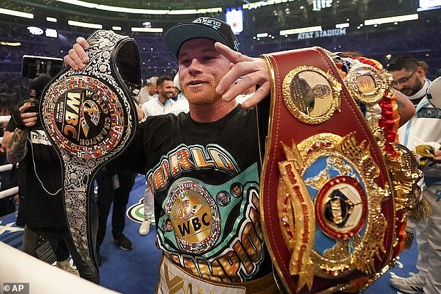 There was a crowd of 73,000 fans inside the AT&T stadium in Texas as Canelo won a new belt