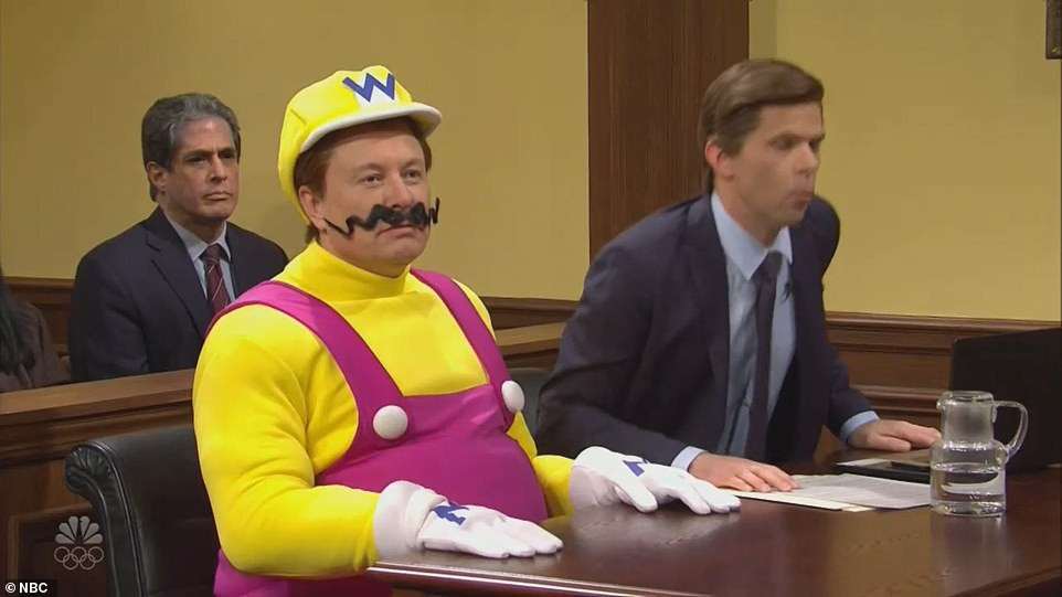 In one sketch, Musk portrays the evil video game character Wario, who is put on trial for killing Mario, his Nintendo arch-rival